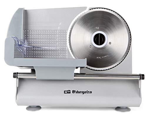 Orbegozo MS 4570 - Cortafiambres metálica con cuchilla de acero inoxidable, 150 W, ajuste de grosor de corte y deslizador de seguridad extraible