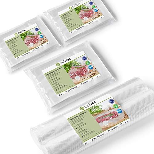 culivac Vacuum Food Sealer Bags 100 pcs 20x30cm // Vacuum Food Sealer Rolls 2 pcs 20x600cm and 2pcs 30x600cm - Professional Set 1